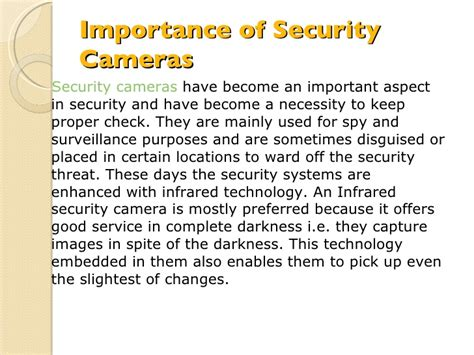 the importance of alarms importance of security cameras