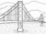 Bridge Coloring Gate Golden Printable 21kb 225px sketch template