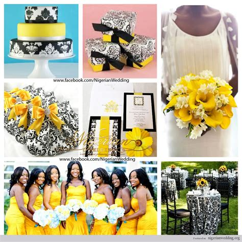 wedding colors black white yellow damask theme inspiration oh happy day