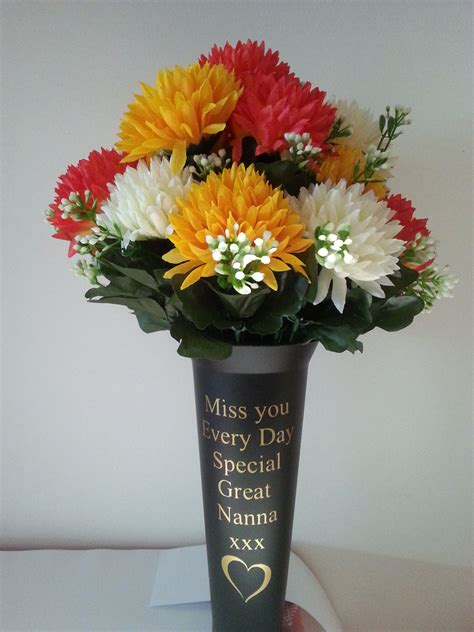 Vase For Grave by Personalised Grave Vase Spike Design With Flowers