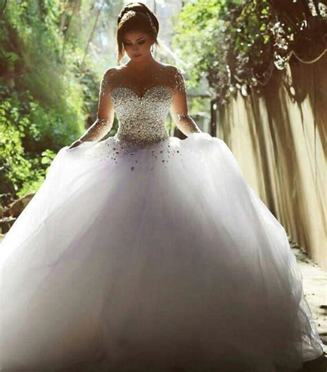 Romantic Bridal Gown Long Sleeves Illusion Crystal Pearl