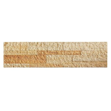home depot golden aspect 24 in x 6 in peel and stick stone backsplash in golden sandstone a90 87 the home depot