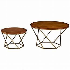 geometric walnut top gold 2 piece nesting coffee table set With gold geometric coffee table