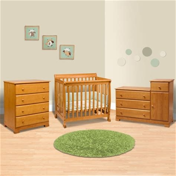 Davinci Kalani Combo Dresser Honey Oak by Da Vinci 3 Nursery Set Kalani Mini Crib 4 Drawer