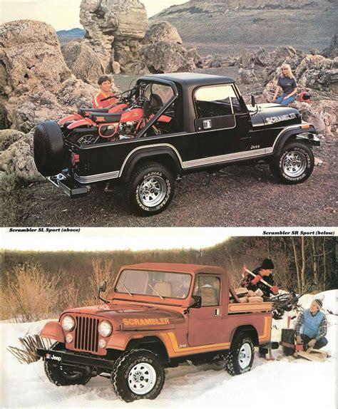 jeep scrambler brochure love  hair   guy strapping   dirt bikes jeep cj