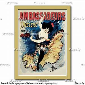 French belle epoque café chantant ambassadors ad postcard ...