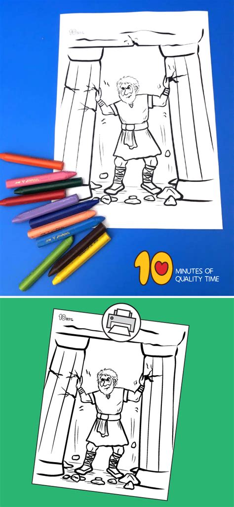 samson coloring page  minutes  quality time