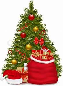 Christmas Tree And Santa Bag With Gifts  Vector