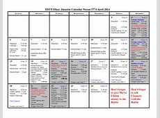 Pesach Calendar 2014 OSTT Olney
