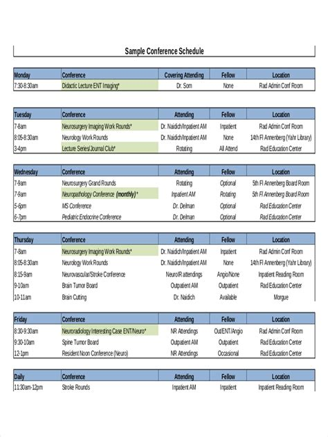 conference schedule examples samples
