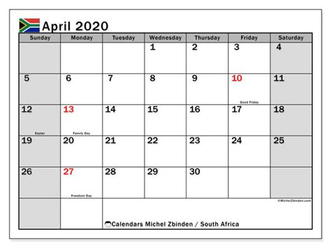 calendar april  south africa michel zbinden en