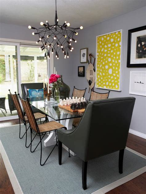 eclectic dining room with unique chandelier hgtv