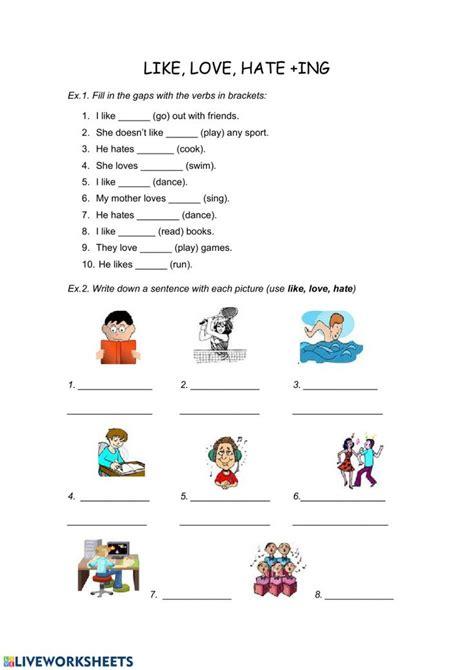 ing ficha interactiva verb worksheets word
