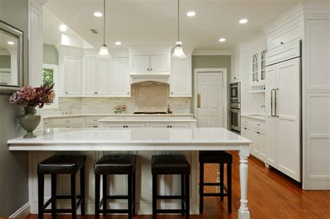 Alexandria White Kitchen With Peninsula, Island