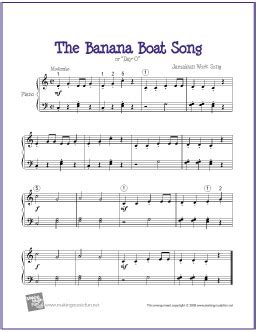 Banana Boat Jingle Lyrics free printable sheet for xylophone free sheet