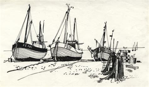 Boat Drawing Ink by Paul Sharp 1964 Pen And Ink Drawing Hythe Fishing Boats