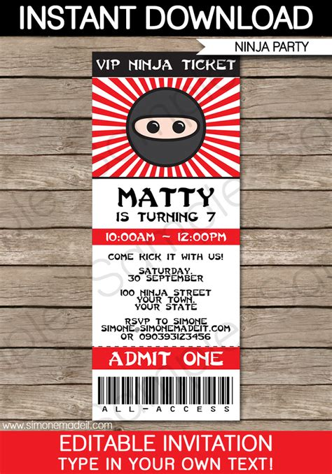 birthday ideas ninja birthday invitation templates