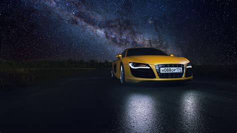 picture audi stars  supercar yellow sky front night