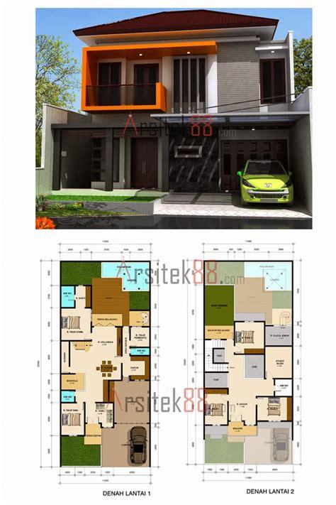 desain rumah minimalis  lantai lebar  meter gambar