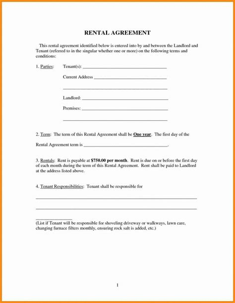 Rental Agreement Template Free Room House Basic Rental Agreement Template