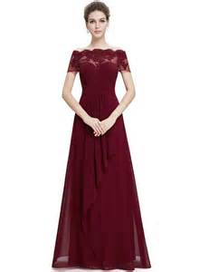 burgundy lace bridesmaid dresses sleeve floral lace maxi prom evening dress oasap