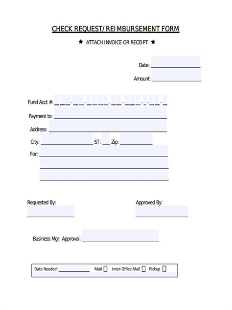 check request template 7 request reimbursement forms sles free sle exle format