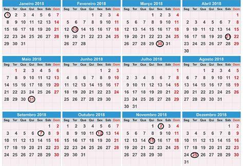 calend 193 2018 feriados para imprimir vejas os feriad 213 es de 2018