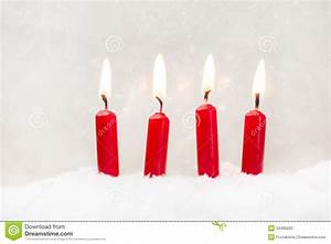 Four Red Candle On White Background For Christmas Stock ...