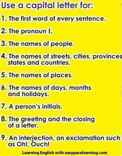 capital letters english activities