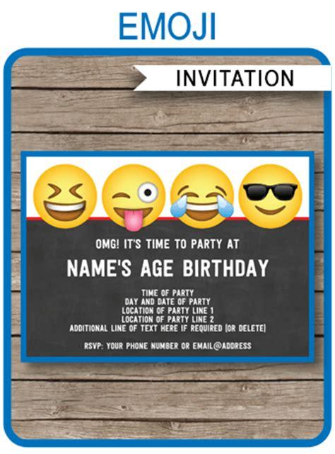 emoji theme party invitations template printable boys