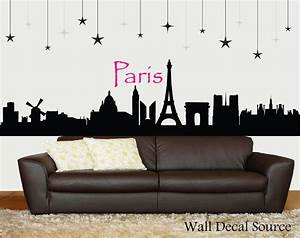 paris skyline silhouette wall decal paris wall art With paris wall decals