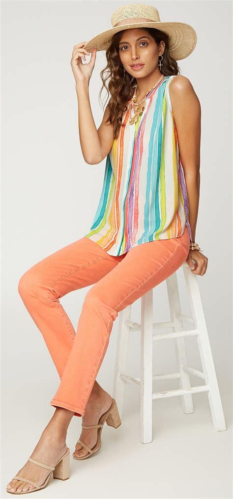 nydj sleeveless pintuck blouse  striped pattern
