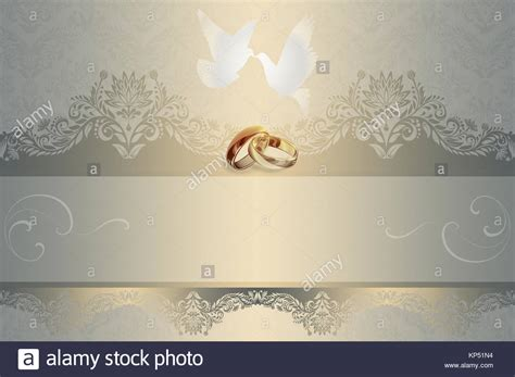 Template of wedding invitation card with white doves and