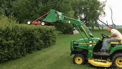 Lawnmower Hedges Backhoe Trimming Trim Stupid Strapped