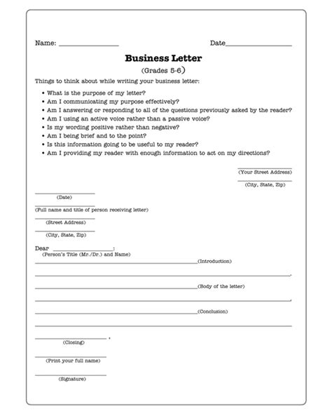 business letters practice writing worksheet  kids