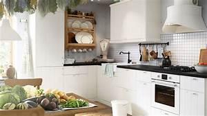 dossier les cuisines ikea With cuisine blanche plan de travail noir