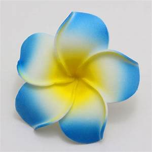 30Pcs Blue Plumeria flower Hawaiian Foam Frangipani Flower