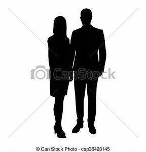 Man and woman in formal wear standing side by side. Vector ...