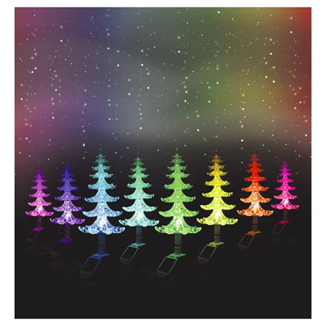 solar powered colour changing christmas tree with lights