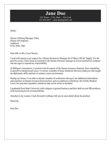 Cover Letter To A Hiring Manager by Hr Manager Cover Letter