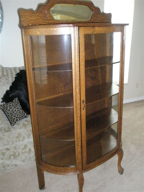 antique china cabinets antique larkin co oak china cabinet curved glass