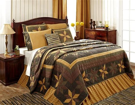 5pc amherst primitive star queen cal king quilt shams