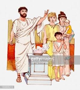 Illustration Of Ancient Greek Family Worshipping At Altar ...