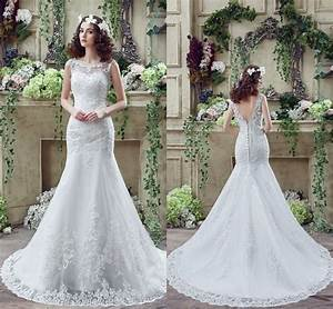 cheap white ivory wedding dresses mermaid lace appliques With ebay used wedding dresses