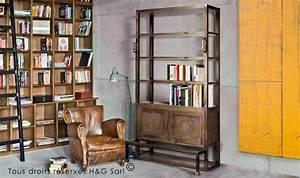Bibliothèque Design Bois : bibliotheque loft bois massif mobilier industriel house ~ Teatrodelosmanantiales.com Idées de Décoration