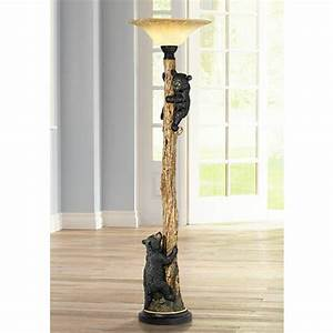 Climbing bears torchiere floor lamp j0932 lamps plus for Floor lamp with bear