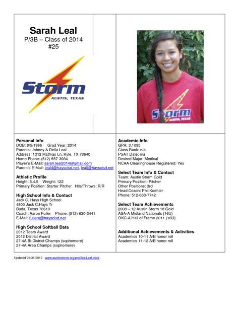softball player profile template best photos of athlete bio template football player resume exles athlete profile template