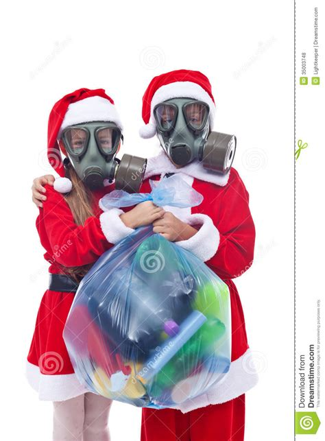 alternative christmas giving santa and helper giving you an alternative present royalty free stock photos image
