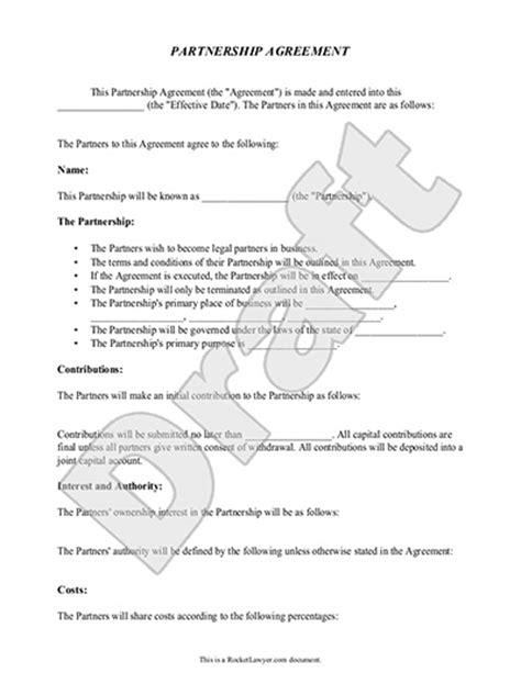 partnership agreement template form  sample