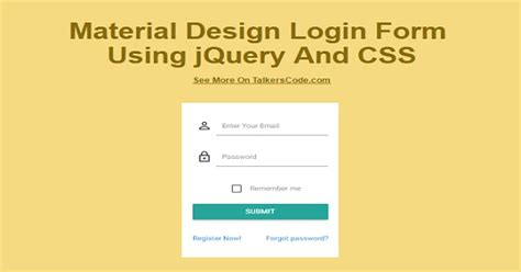 material design login form using jquery and css tips